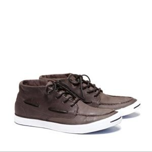 CONVERSE JACK PURCELL Grey Mid Boat Shoes